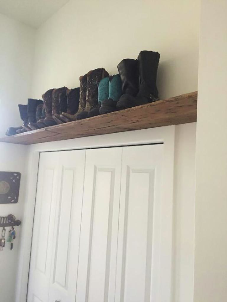 Reclaimed barnwood shelf