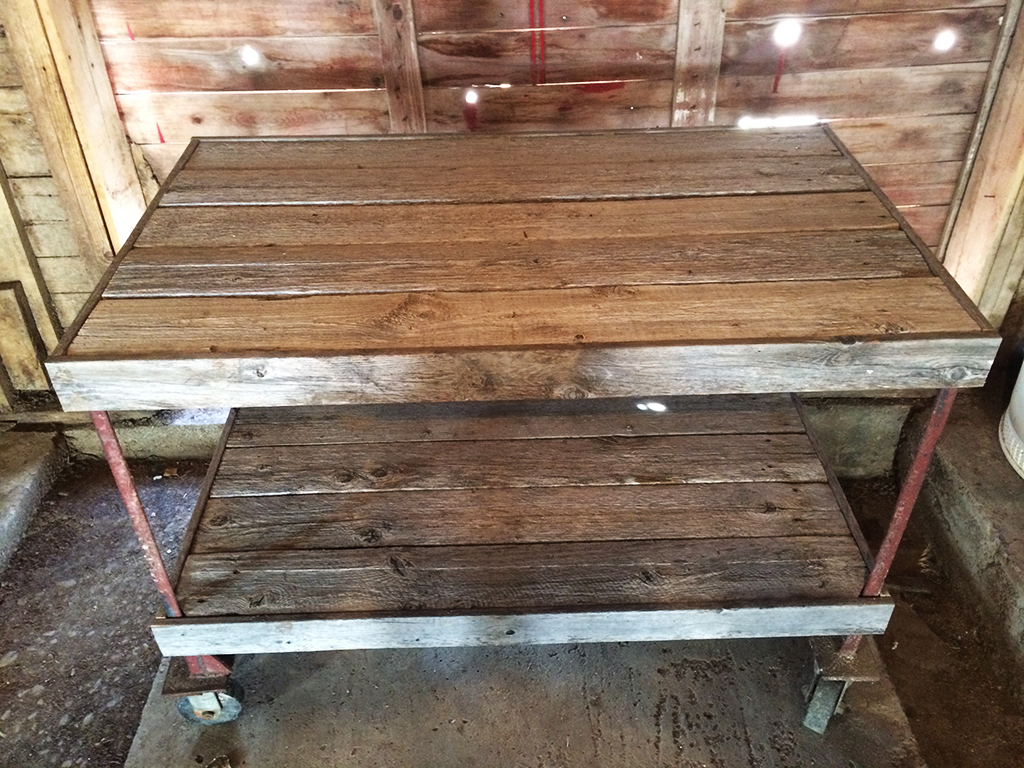Reclaimed barnwood work bench